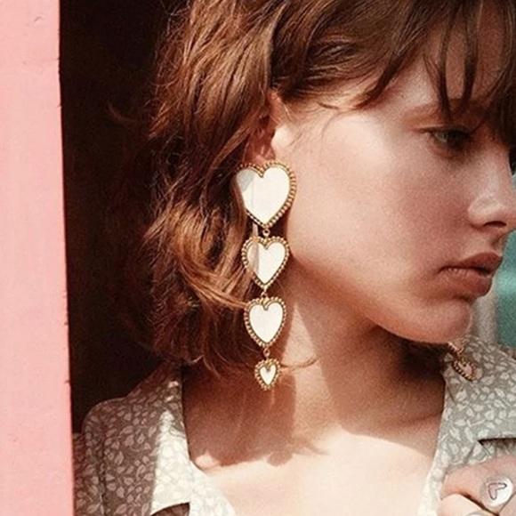 White Heart Drop Statement Earrings